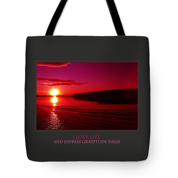 I Love Life And Express Gratitude Daily Tote Bag by Donna Corless
