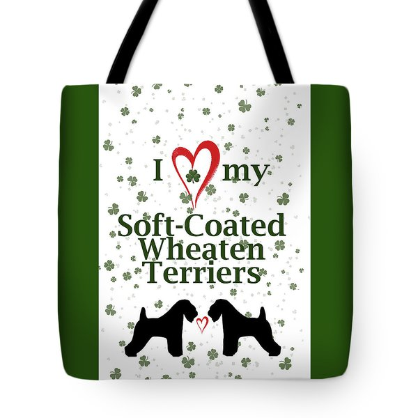 Tote Bag featuring the digital art I Love My Soft Coated Wheaten Terriers by Rebecca Cozart