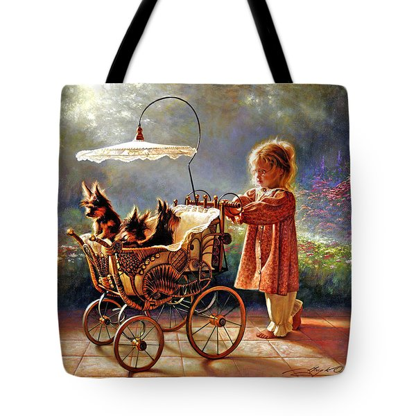 Tote Bag featuring the painting I Love New Yorkies by Greg Olsen