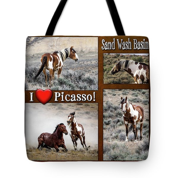 I Love Picasso Collage Tote Bag by Nadja Rider