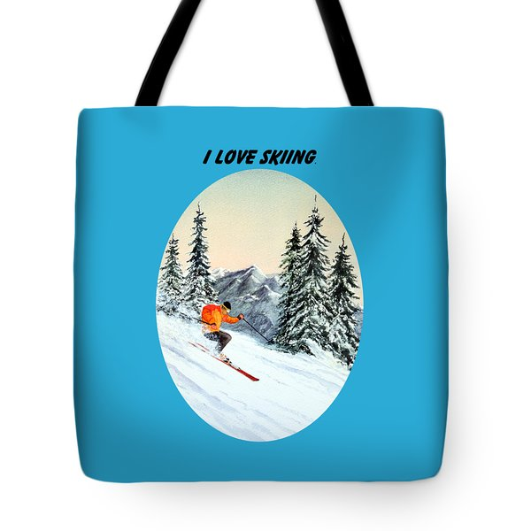 I Love Skiing  Tote Bag by Bill Holkham