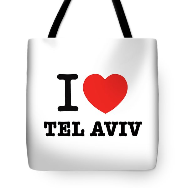 Tote Bag featuring the photograph i love Tel Aviv by Ron Shoshani