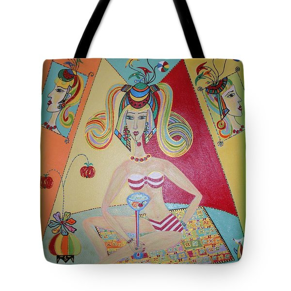 Tote Bag featuring the painting I Love This Cherry by Marie Schwarzer