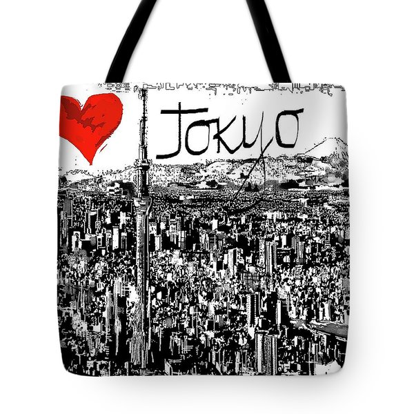 Tote Bag featuring the digital art I Love Tokyo by Sladjana Lazarevic