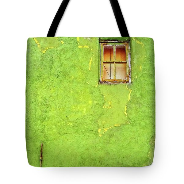 Window On Green Wall In Norway Tote Bag