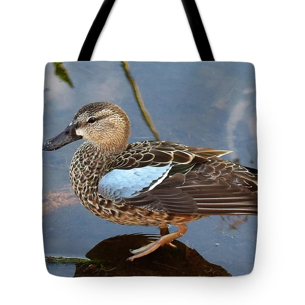 Tote Bag featuring the photograph I Really Am A Green Winged Teal by Sally Sperry