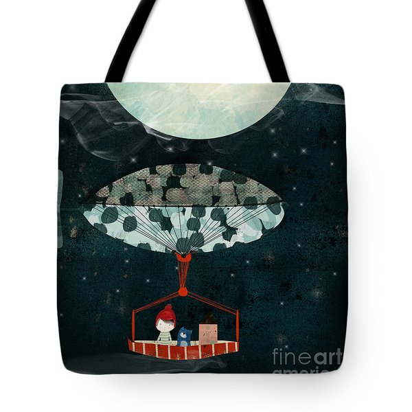 Tote Bag featuring the painting I See The Moon Too by Bri B