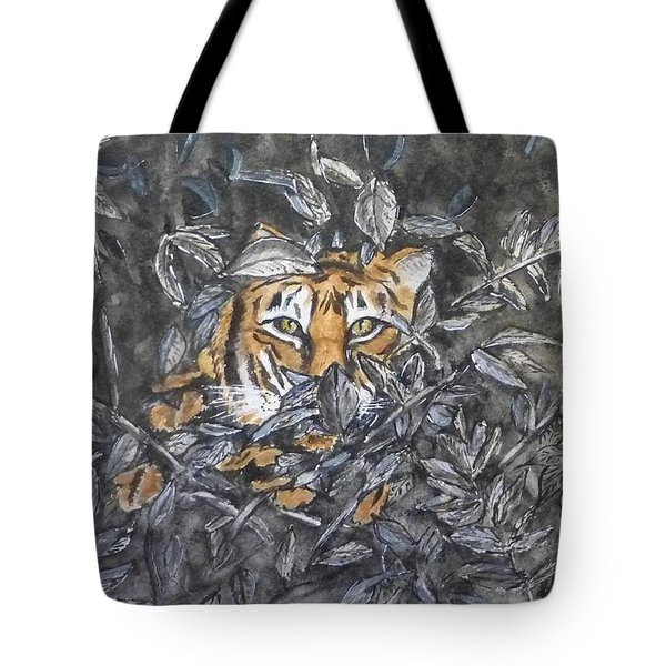Tote Bag featuring the painting I See You... Orange Tiger by Kelly Mills