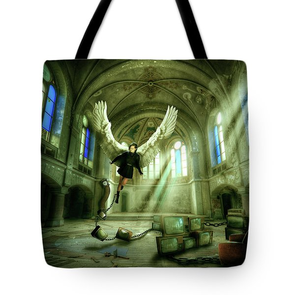 Tote Bag featuring the digital art I Want To Brake Free by Nathan Wright