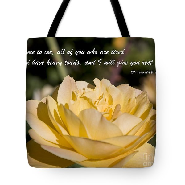 Tote Bag featuring the photograph I Will Give You Rest by Kirt Tisdale