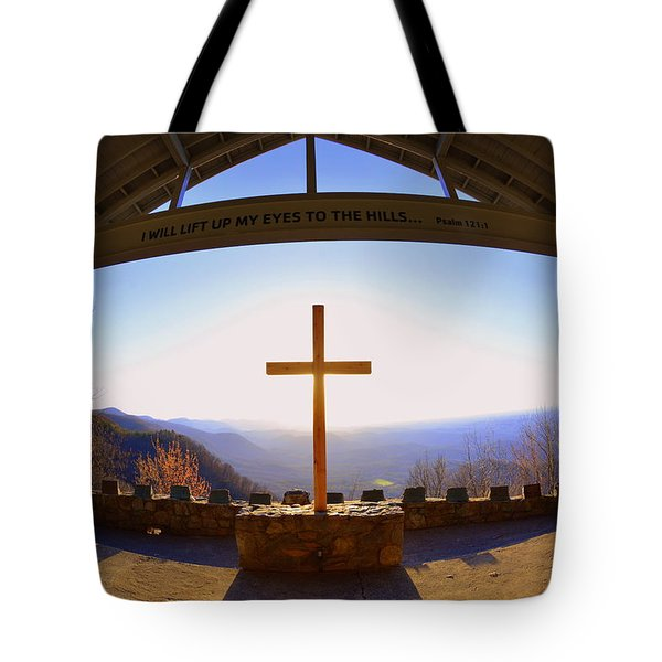 Tote Bag featuring the photograph I Will Lift My Eyes To The Hills Psalm 121 1 by Lisa Wooten