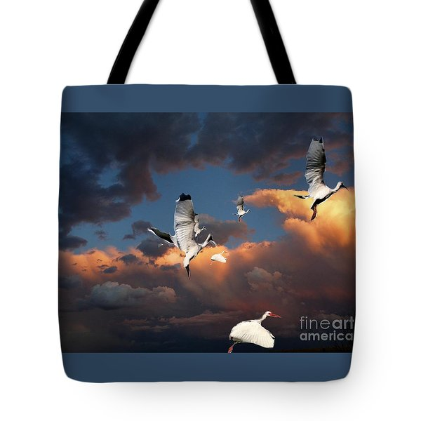 Ibis In Flight Tote Bag by Irma BACKELANT GALLERIES