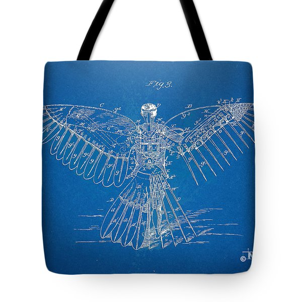 Icarus Human Flight Patent Artwork Tote Bag by Nikki Marie Smith