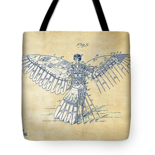 Icarus Human Flight Patent Artwork - Vintage Tote Bag