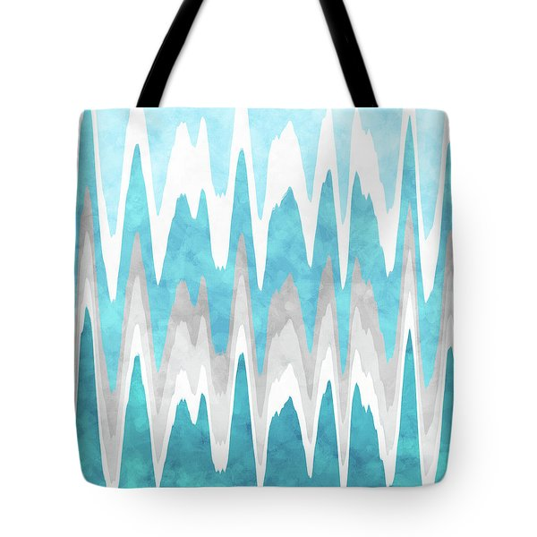 Tote Bag featuring the mixed media Ice Blue Abstract by Christina Rollo