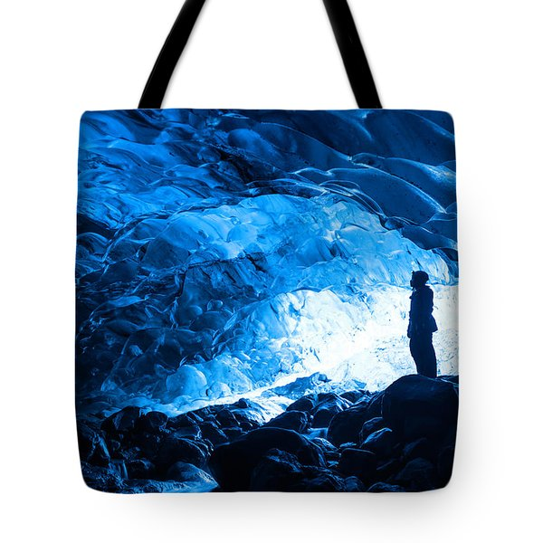 Ice Cave Explorer Tote Bag
