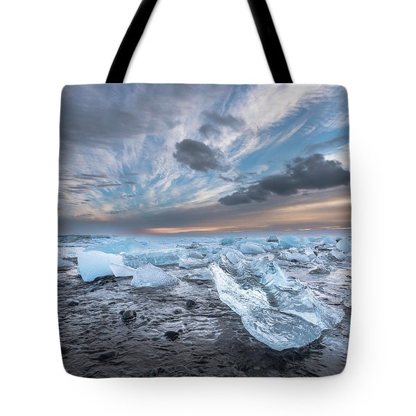 Ice Chunks Sunset 2 Tote Bag