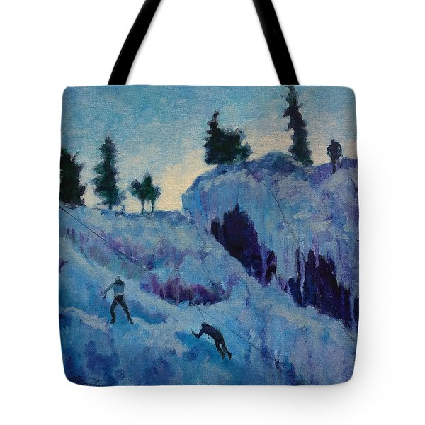 Ice Climbing Tote Bag by Marion Corbin Mayer