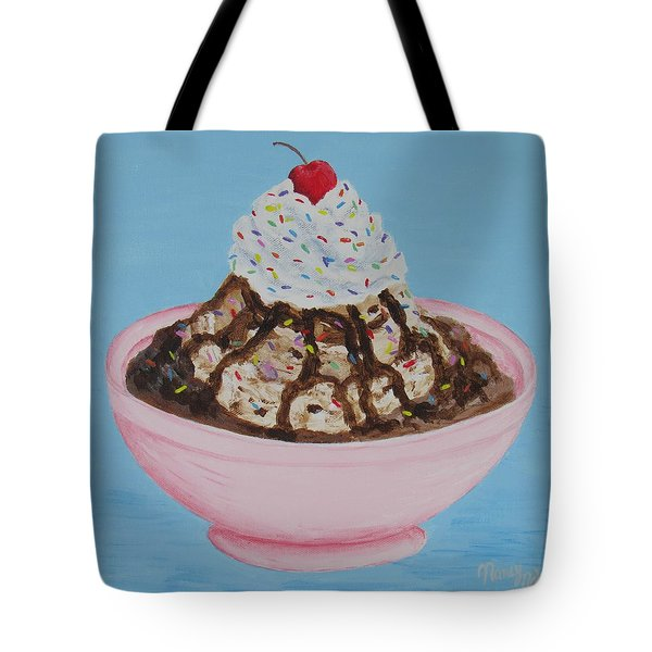 Tote Bag featuring the painting Ice Cream Sundae With Sprinkles by Nancy Nale