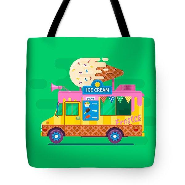 Ice Cream Van Delivery.street Food Truck Vector Illustration.flat Vector Illustration Tote Bag