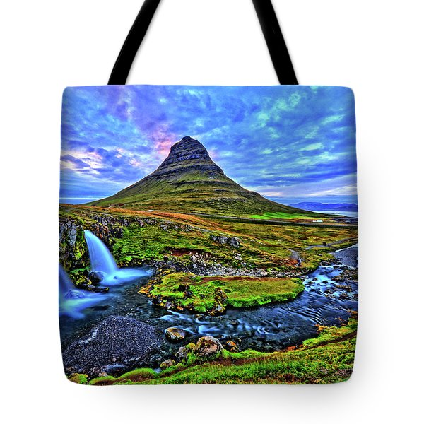 Tote Bag featuring the photograph Ice Falls by Scott Mahon