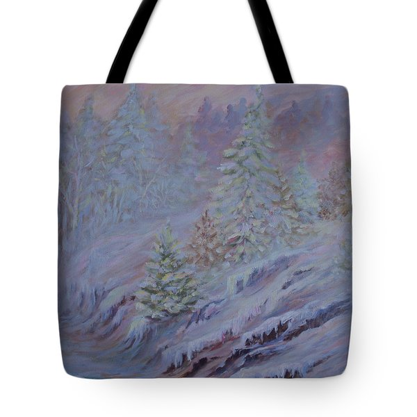 Ice Fog In The Forest Tote Bag