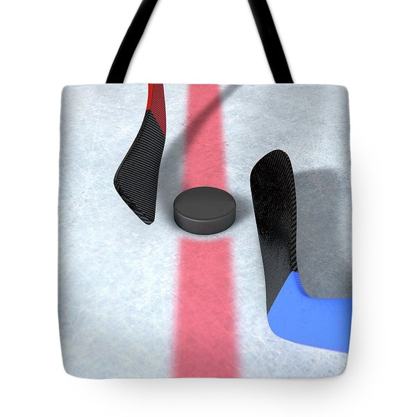 Ice Hockey Sticks And Puck Tote Bag
