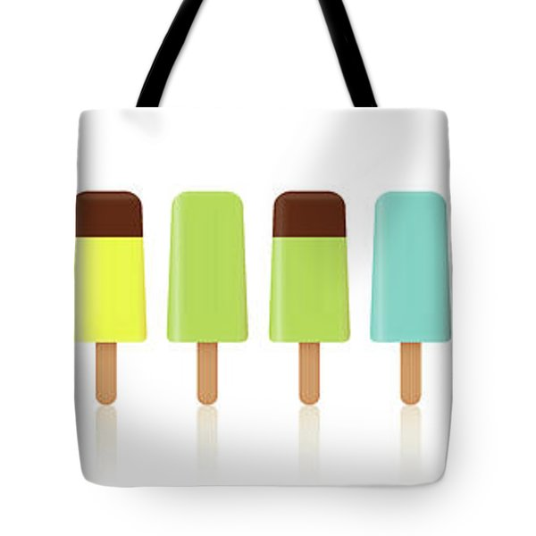 Ice Lollys Pattern Rainbow Colored In A Line Tote Bag