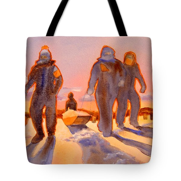 Ice Men Come Home Tote Bag by Kathy Braud