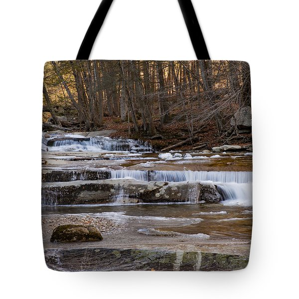 Ice On Fall Stream Tote Bag