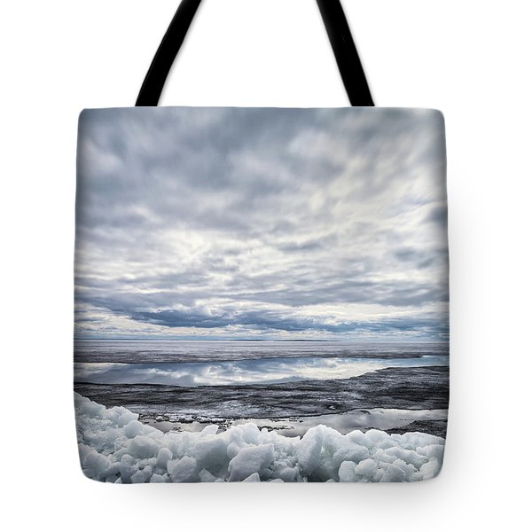 Ice On Lake Nipissing Tote Bag by Brian Boudreau