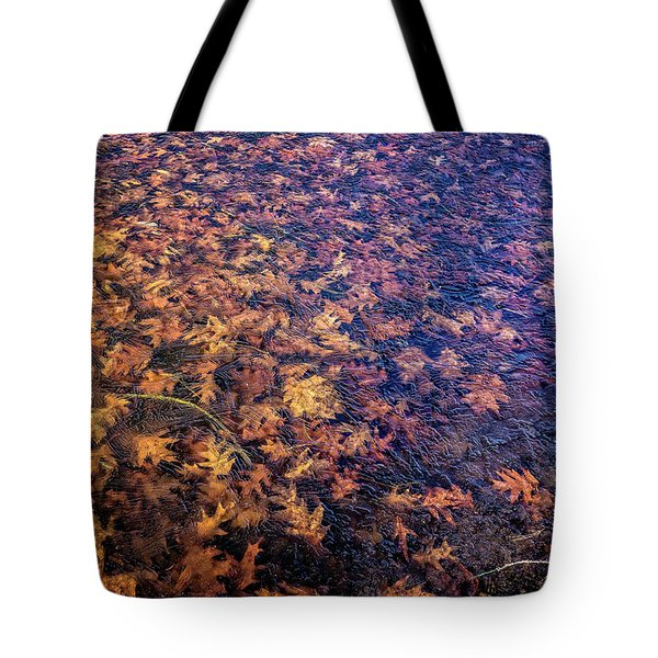 Ice On Oak Leaves Tote Bag