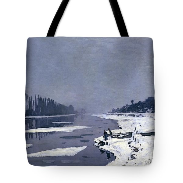 Ice On The Seine At Bougival Tote Bag by Claude Monet