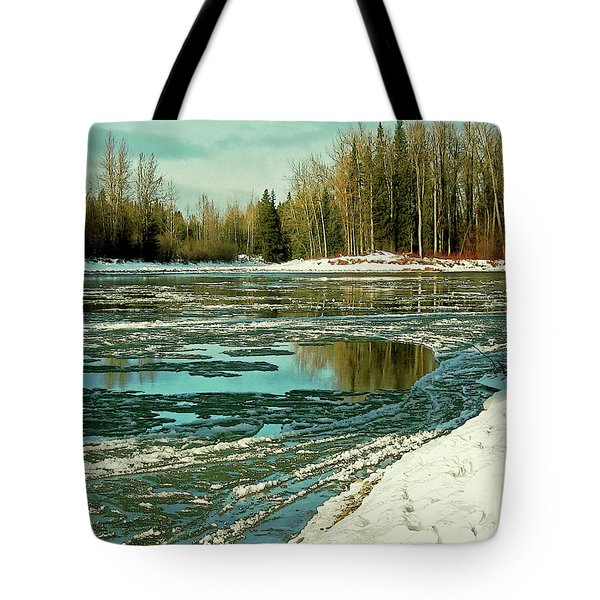 Ice On The Telkwa River Tote Bag