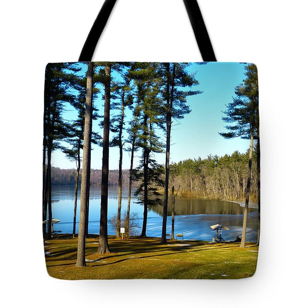 Ice On The Water Tote Bag by Donald C Morgan
