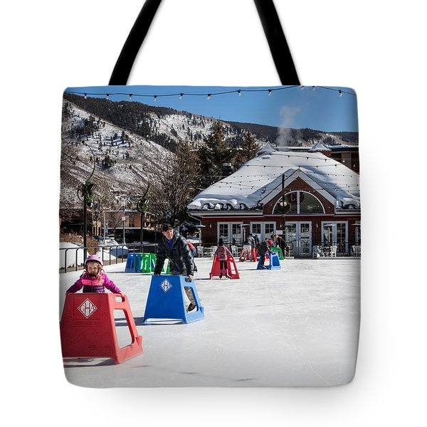 Ice Rink In Downtown Aspen Tote Bag