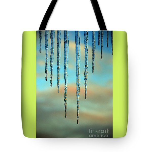 Tote Bag featuring the photograph Ice Sickles - Winter In Switzerland  by Susanne Van Hulst