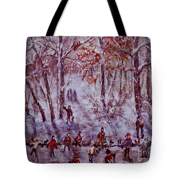 Ice Skating On Hardy Pond Tote Bag by Rita Brown