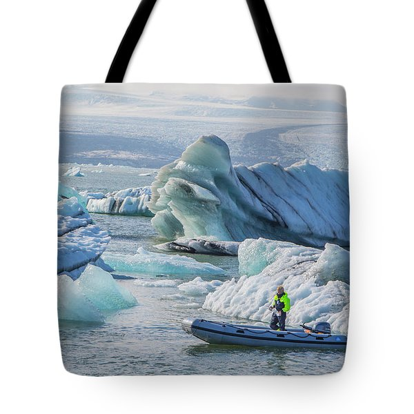 Icebergs On Jokulsarlon Lagoon In Iceland Tote Bag