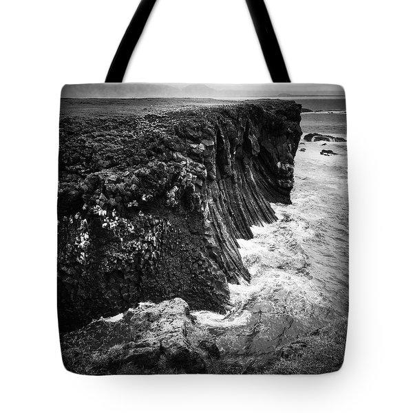 Iceland Coast Black And White Tote Bag