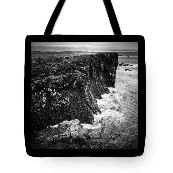 Iceland Coast Black And White Tote Bag