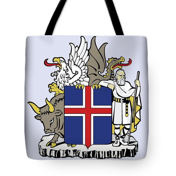 Tote Bag featuring the drawing Iceland Coat Of Arms by Movie Poster Prints