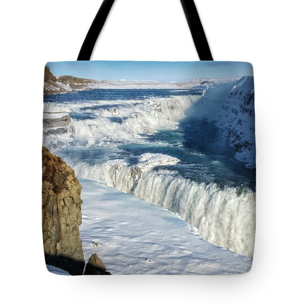 Tote Bag featuring the photograph Iceland Gullfoss Waterfall In Winter With Snow by Matthias Hauser