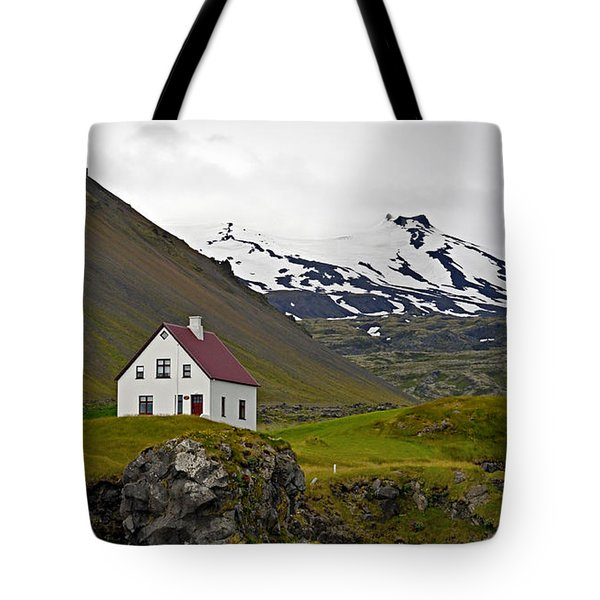 Tote Bag featuring the photograph Iceland House And Glacier by Joe Bonita