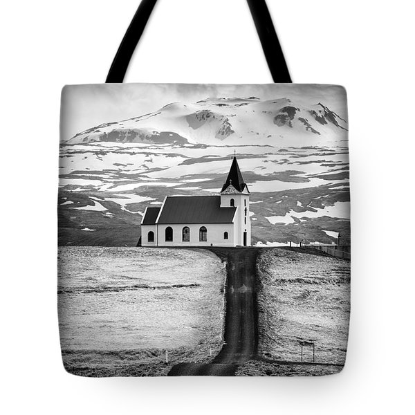 Iceland Ingjaldsholl Church And Mountains Black And White Tote Bag