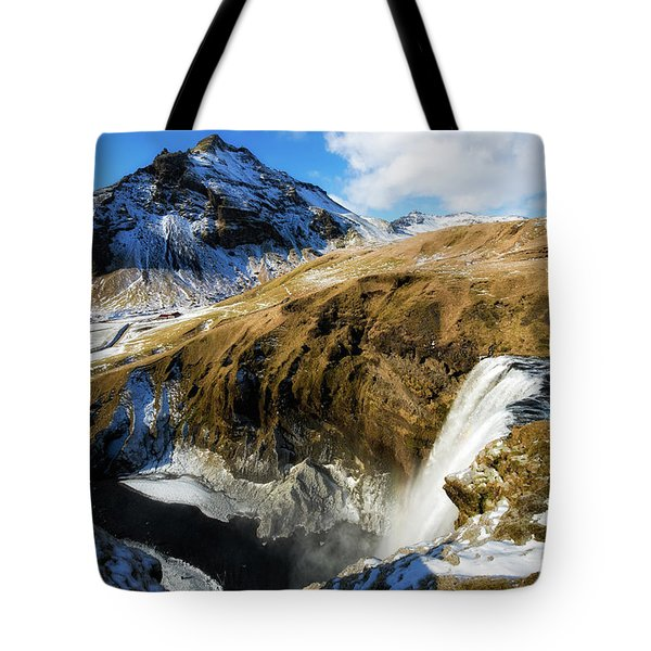 Tote Bag featuring the photograph Iceland Landscape With Skogafoss Waterfall by Matthias Hauser
