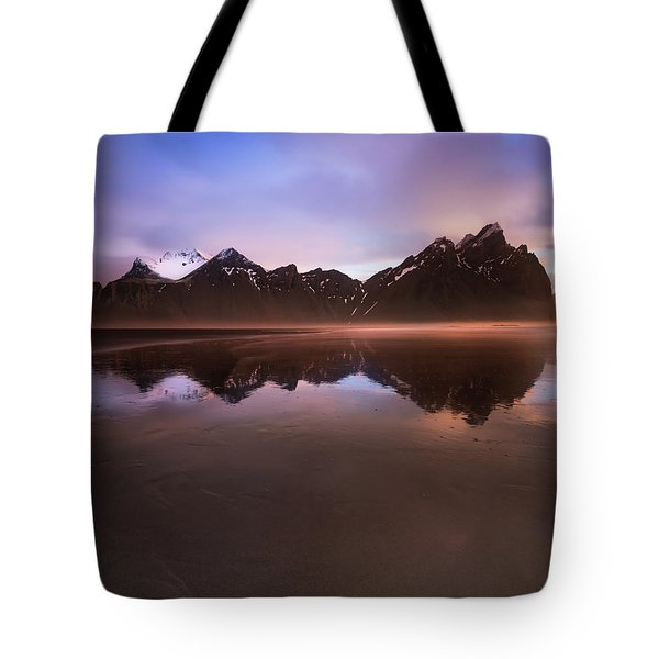 Iceland Sunset Reflections Tote Bag