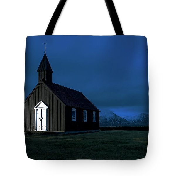 Tote Bag featuring the photograph Icelandic Church At Night by Dubi Roman