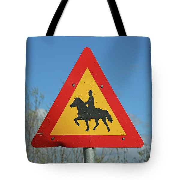 Icelandic Horse Crossing Sign Tote Bag