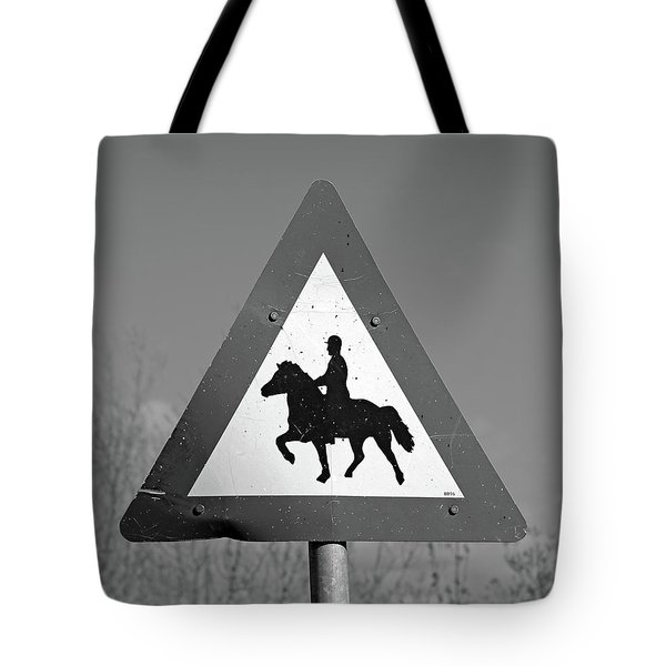 Icelandic Horse Crossing Sign Bw Tote Bag